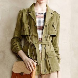 HEI HEI Anthropologie Army Green Coat